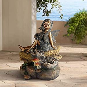 john timberland bronze garden fairy fountain with light led indoor outdoor water feature 24 high cascading resin sculpture for garden patio yard deck home lawn porch house relaxation exterior