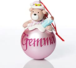 The Christmas Cart Personalised Pink Teddy Christmas Character Bauble| Customised Christmas Tree Decoration | Christmas Or...