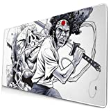 Ye Hua Extra Large Mouse Pad -Afro Samurai Japan Desk Mousepad - 15.8x29.5in (3mm Thick)- XL Protective Keyboard Desk Mouse Mat for Computer/Laptop