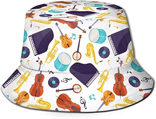 Música de jazz Instrumentos musicales cubo con estampado unisex Sombreros de pescador pesca plegable reversible de verano Mujeres Hombres Sombrero para el sol al aire libre Viaje Campamento de playa