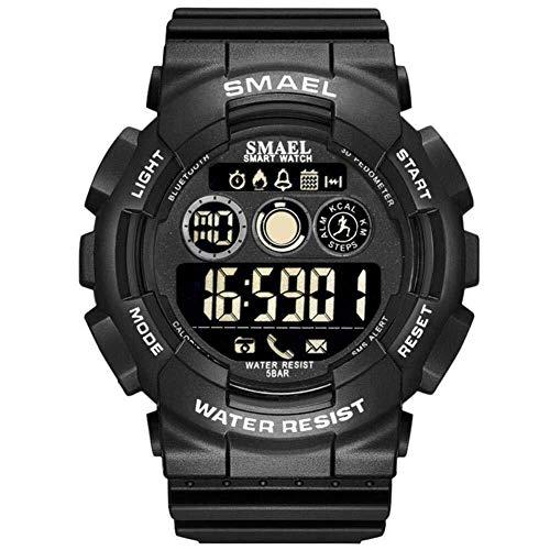 Smartwatch Smael Bluetooth Pedometer Stoppuhr 50m wasserdichte Smartwatch Mode tragbar (Color : Schwarz)