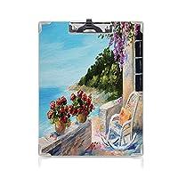 クリップボード A4 海の景色 学用品A4 バインダー 夏の空の居心地の良いロッキングチェアの花と海の景色のバルコニー油絵のスタイル A4 タテ型 クリップファイル ワードパッド ファイルバインダー 携帯便利多色