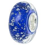 Abalorio de plata de ley 925 con cuentas de cristal de burbujas azules para pulseras de abalorios europeas.