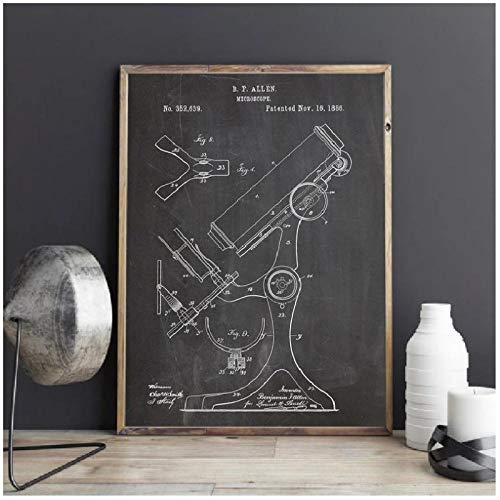 FUXUERUI Pharmacy Microscope Science Vintage Chemistry Wall Art Decor Science Teacher Gift Art Canvas Painting Picture - 40x60cm Unframed