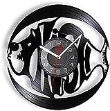 GVSPMOND Ocean Fish Disco de Vinilo Reloj de Pared Estilo de Acento Ocean Barracuda Reloj de Pared Reloj de Pared Decoración del hogar Reloj Océano Álbum Decoración de Acuario