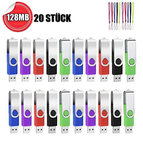 USB Sticks 128MB 20 Stück AreTop Speicherstick USB 2.0 Pen Drives 360° Drehbar Metall Design mit lanyards for Datenspeicher (20 stück with Schlüsselband)