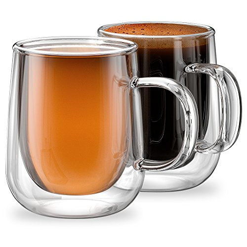 Stone & Mill Double Walled Glass Coffee Mugs (Set of 2) 9.4 oz, Venezia Collection, Insulated Mugs for Espresso, Latte, Cappuccino, Tea Double Walled Glass Coffee Mug, Gift Box AM-11