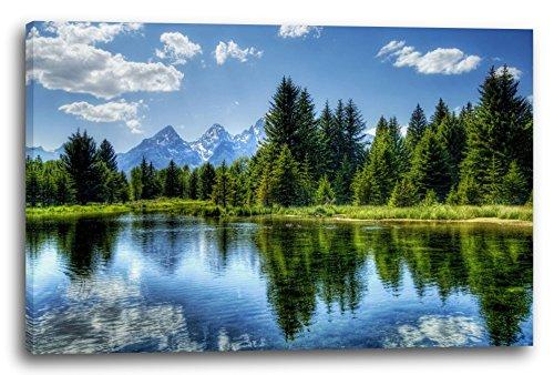 Printed Paintings Leinwand (80x60cm): Landschaftsbilder grüner Wald, dahinter Berge, Spiegelung i