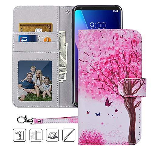 LG V30 Case, LG V35 ThinQ Wallet case, MagicSky Premium PU Leather Flip Folio Case Cover with Wrist Strap, Card Holder, Cash Pocket, Kickstand for LG V30s, LG V30 Plus,LG V35 (2017), Pink Tree