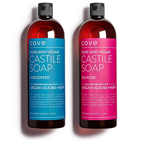 Cove Castile Soap Unscented & Tea Rose - 2x 1 Liter / 33.8 oz Bundle -...