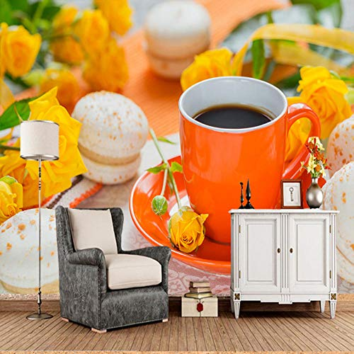 3D Tapete Benutzerdefinierte 3D-Tapete Kaffee Rosen Tasse Macaron Wandbilder Für Wohnzimmer Küche Zimmer Hintergrund Dekorative Wasserdichte Tapete,300 * 210Cm
