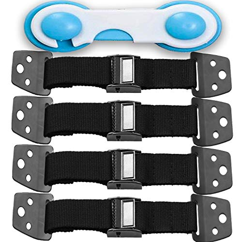 METAL Anti Tip Furniture Kit - TV Straps Safety (4 PACK+ 1 LOCK) Earthquake Straps - Furniture Anchors For Baby Proofing - Wall Straps For Flat Screen - Child Proof Mounting Strap, Childproof Holder