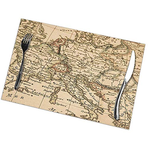Winter-Zuid Placemats Set van 6 Place Mats Placemats Oude Kaart Antiek Europa Kaart Italië Frankrijk Spanje Mediterrane Continent