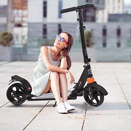 kids/Adult Scooter with 3 Seconds EasyFolding System 220lb Folding Adjustable Scooter with Disc Brake and 200mm Large Wheels Black