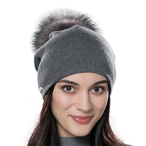 URSFUR Unisex Weiche Wolle Mütze Strickmütze Kappen mit Fellbommel aus Fuchspelz - grau