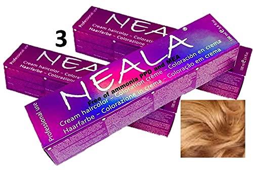 Pack 3 NEALA tinte permanente profesional para el cabello sin amoniaco y...