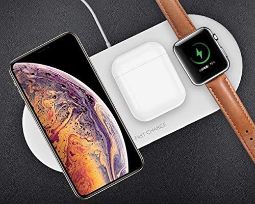 Ksix - Wireless Charler- Base Carga Inalámbrica 3 EN 1 Teléfono+Auricular+SmartWatch
