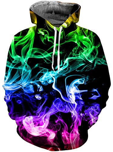 Guys Cool Retro Multi Color Smoke Fuzzy Hoodys for Women Men Colorful Graphics Fashion Lightweight Crewneck Hoodies Pullover Sweater Shirts with Pockets Back School Jackets 90s Clothes XX-Large XXL 2X