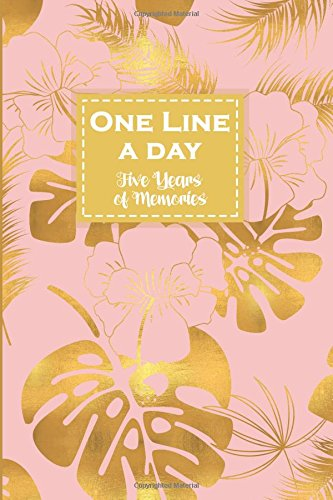 One Line a Day, Five Years of Memories: Gold Monstera, A Five Year Memoir, 6x9 Dated and Lined Diary