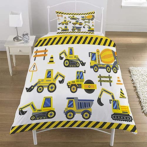 MUSOLEI - Set di biancheria da letto per veicoli edili, camion, copripiumino per cantiere, escavatori, copriletto con federa, chiusura lampo morbida, singolo