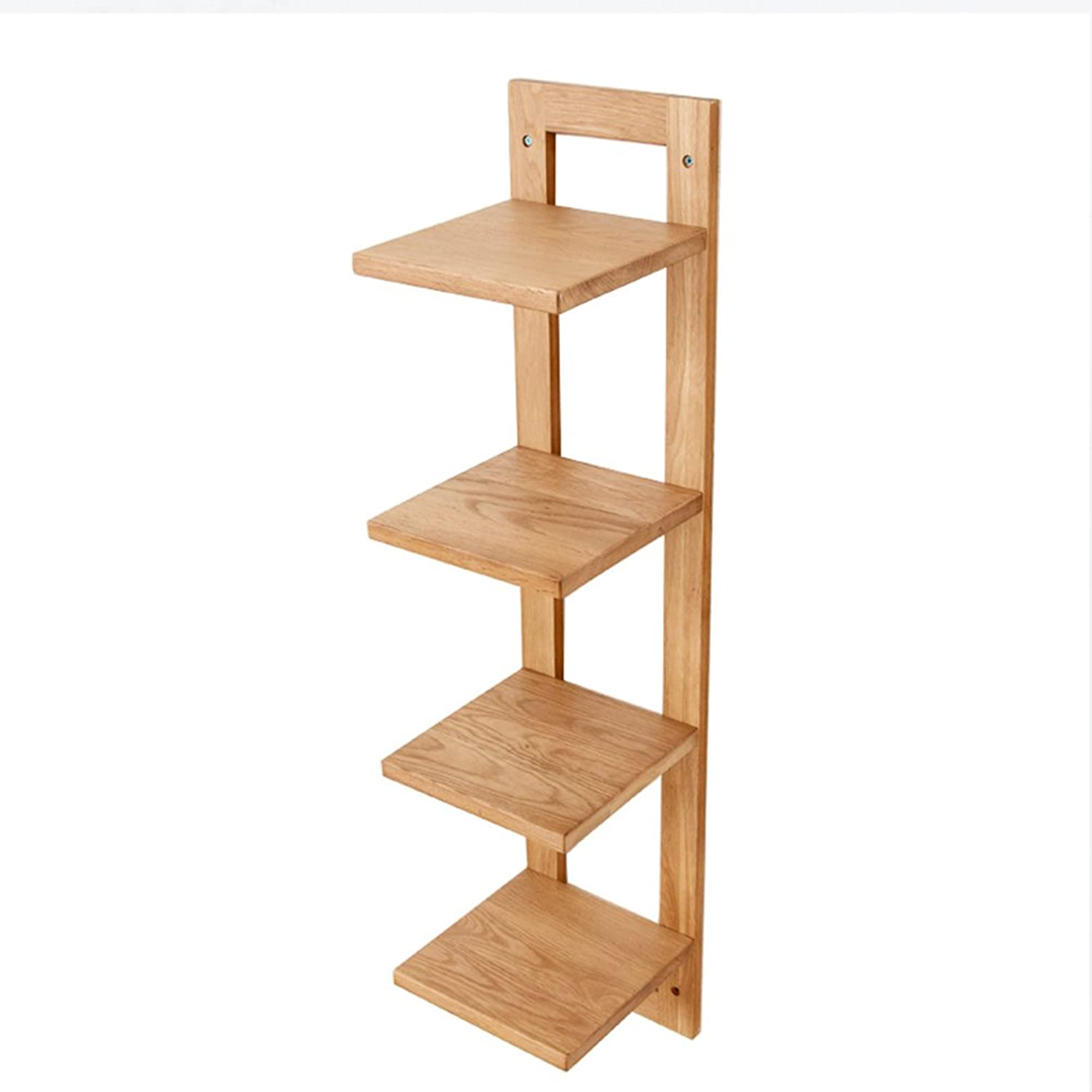 BJLWT Solid Wood Wall Mounted Racks -200x215x900mm -4 Tier Shelf Living Room TV Wall Partition Storage Rack Flower,Storage Rack (color   Wood color)