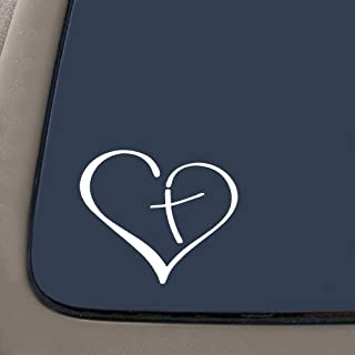 NI968 Heart And Cross Christian Decal Sticker   5.5-Inches By 4.5-Inches   Premium Quality White Vinyl