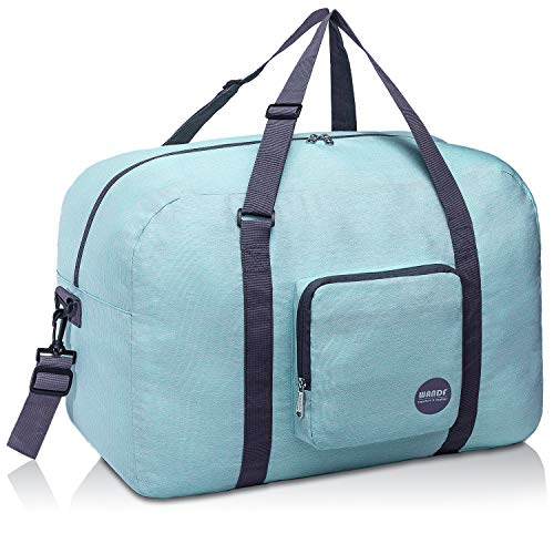 WANDF 16' ~ 22' Foldable Duffle Bag 20L ~ 50L for Travel Gym Sports Lightweight Luggage Duffel 10 Color Choices (22 inches (50 Liter), Meet Green Denis 22')