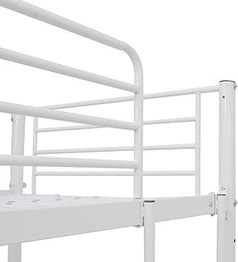 FAMIROSA Lit superposé avec Cadre de Table Blanc Métal 90x200 cm