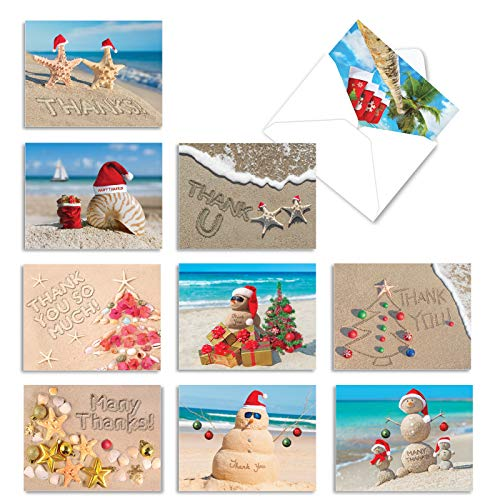 The Best Card Company - 10 Thank You Christmas Cards with Envelopes - Boxed Gratitude Assortment, Xmas Holiday Cards (4 x 5.12 Inch) - Season's Beachin M6651XTB