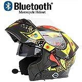 Casque Bluetooth pour moto Casques à visage ouvert D.O.T/Bluetooth + FM Casques de randonnée rabattables Casque Bluetooth intégré à deux haut-parleurs avec microphone pour répondeur automatique,XL