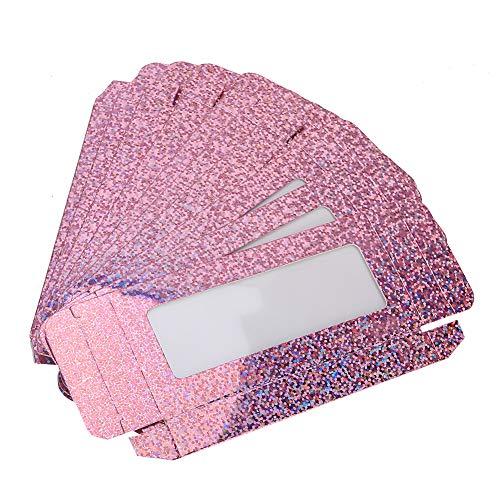 Caja de pestañas vacía de 10 piezas, embalaje de caja de pestañas postizas, estuche de almacenamiento de pestañas para mujeres y niñas(Lentejuelas Rojas)