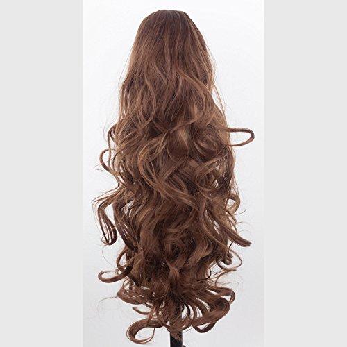 22 pouces / 36 cm - queue de cheval - ondulé - brun châtaignier - pince pour griffe - réversible 2 styles en 1 - pince pour pièce pour cheveux - ressemble à de vrais cheveux - 200g par Elegant Hair