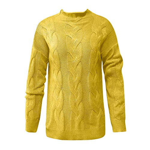 general3 Women Long Sleeve Knit Pullover Tops Fashion V-Neck Casual Striped Chunky Cable Knitted Slim Fit Sweater (Yellow, XXX-Large) from general3