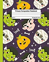 Primary Composition Notebook: Cool Halloween Handwriting Notebook with Dashed Mid-line and Story Paper Journal | Grades K-2, 100 Story Pages | Awesome Ghost & Mummy Design for Kids