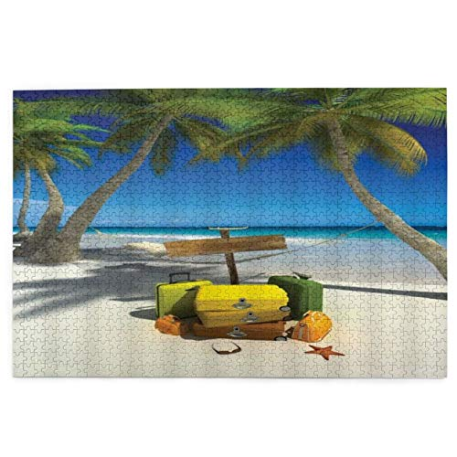 Jigsaw Puzzles 1000 Pieces,Ocean Beach Vacation Relaxation Summer Trip Suitcase Tropic Sea Palm Tree Seaside Hammock,Large Family Puzzle Game Artwork for Adults Teens