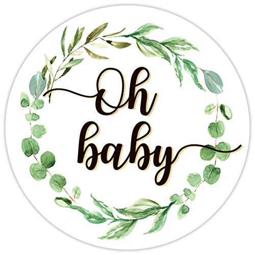 2 Inch Greenery Oh Baby Shower Favors - Labels Decorations - 60 Stickers