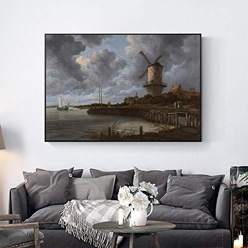 Windmolen In Het Veld Schilderijen Aan De Muur Nederlandse Gouden Eeuw Muur Canvas Prints Landschap Foto's Voor Woonkamer Cuadros-40X60cm_unframed