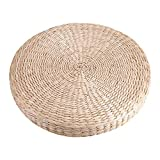 GOTOTOP Round Floor Cushions, 40cm Pouf Tatami Straw Cushion Japanese Style Handcrafted Eco-Friendly Padded Knitted Straw Flat Seat Cushion,Hand Woven Tatami Floor Cushion Corn Maize Husk