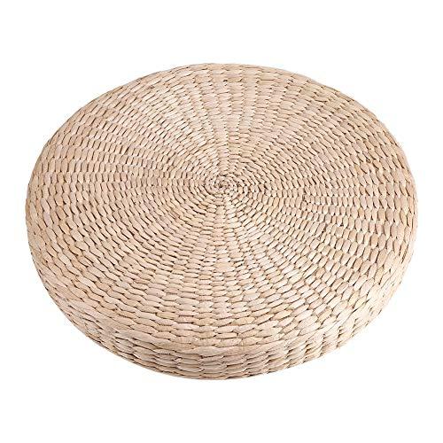 SANON Tatami-Kissen Runder Gepolsterter Hocker Weiche Yoga-Strohmatte Umweltfreundliches Bodenkissen Sitzend Gestrickt Garten Esszimmer Wohnkultur im Freien 40 cm