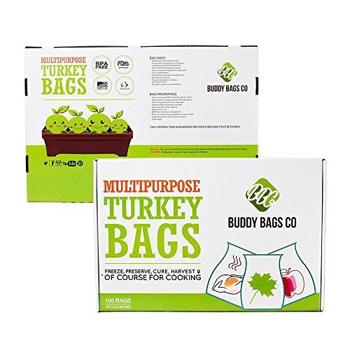 Buddy Bags Co Multipurpose Nylon Turkey Oven Bags - 19' x 24.5' - 100 Pack