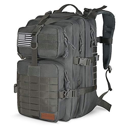 SunsionPro Militär-Rucksack für taktische Jagd, Trekking oder Outdoor täglichen Gebrauch, 43 l - Grau - 43L