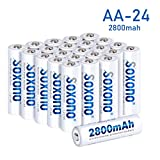 SOXONO AA Rechargeable Batteries 2800mAh High Capacity 1.2V NiMH Low Self Discharge AA Battery 24 Pack