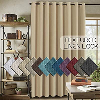 H.VERSAILTEX Room Darkening Linen Curtain for Bedroom/Living Room Extra Wide Blackout Curtains 100 x 84 Inches for Patio Glass Door, Primitive Textured Thick Linen Burlap Look Fabric, Beige