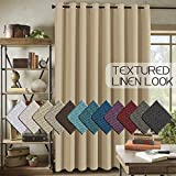 H.VERSAILTEX Room Darkening Linen Curtain for Bedroom / Living Room Extra Wide Blackout Curtains 100 x 84 Inches for Patio Glass Door, Primitive Textured Thick Linen Burlap Look Fabric, Beige
