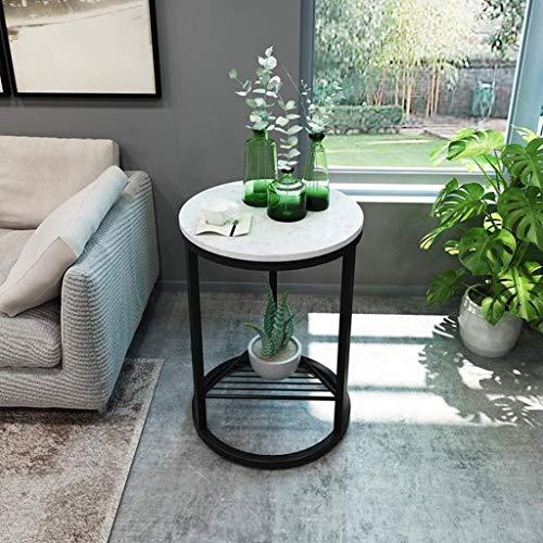 Tavolino da divano, tavolini laterali, tavolino rotondo con esterno in marmo - Mobili moderni effetto metallo leggero - Per comodino / corridoio / tavolo snack soggiorno (Colore: B, Dimensioni: 40CM)