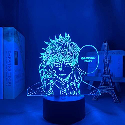 Lámpara de ilusión 3D Mesa Estado de ánimo Luz de noche para dormitorio Decoración Aniversario Saturu Gojo Jujutsu Kaisen-16 Colores con Control Remoto-7 Colores Sin Remoto