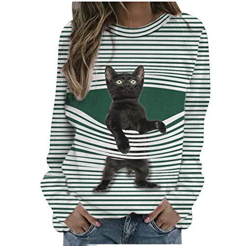CHMROA - Blusa de manga larga para mujer, diseño de gato a rayas, cuello redondo, para mujeres y niñas