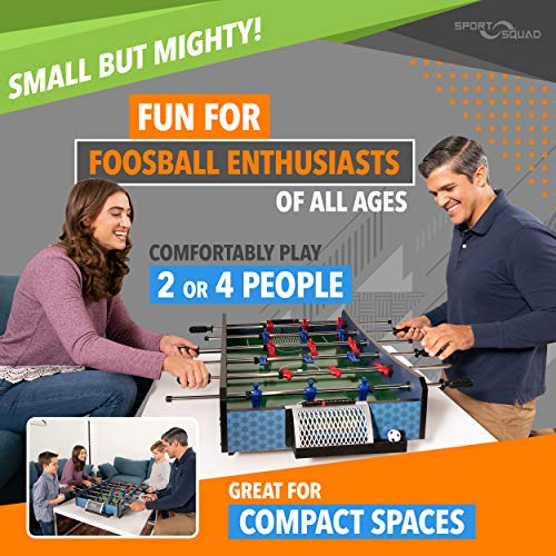 Sport Squad FX40 40 inch Table Top Foosball Table for Adults and Kids - Compact Mini Tabletop Soccer Game - Portable Recreational Hand Soccer for Game Room & Family Game Night - Incl. 2 Foosball Balls