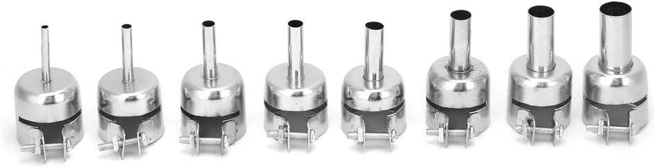 Boquilla de pistola de calor de 8 piezas, boquilla de pistola de aire caliente de acero inoxidable boquilla resistente al calor para herramientas de reparación de estaciones de soldadura de aire calie