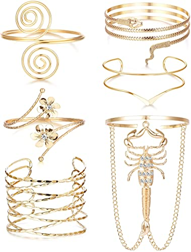 CASSIECA 6 Stücke Oberarm Armbänder Für Frauen Manschette Armband Einstellbare Boho Punk Oberarmreif Set Schlangenarmband Griechisches Armband